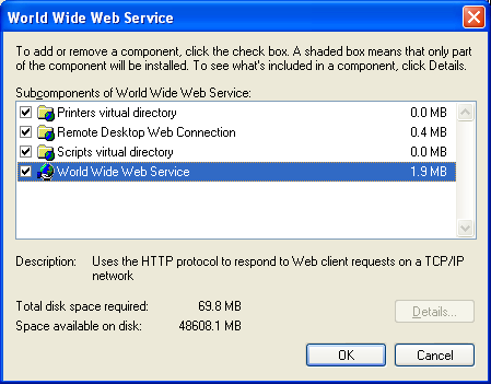 Install, configure, test and use IIS 5.x on Windows XP Pro SP2 machine: selecting the World Wide Web Service sub components