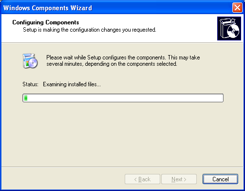 Install, configure, test and use IIS 5.x on Windows XP Pro SP2 machine: the Windows Components Wizard start configuring the selected components