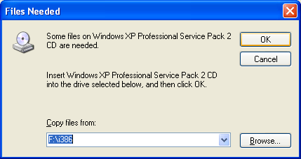 Install, configure, test and use IIS 5.x on Windows XP Pro SP2 machine: finding and selecting the 386 folder