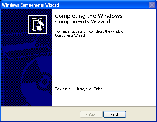 Install, configure, test and use IIS 5.x on Windows XP Pro SP2 machine: Windows Components Wizard completing the IIS Windows component installation