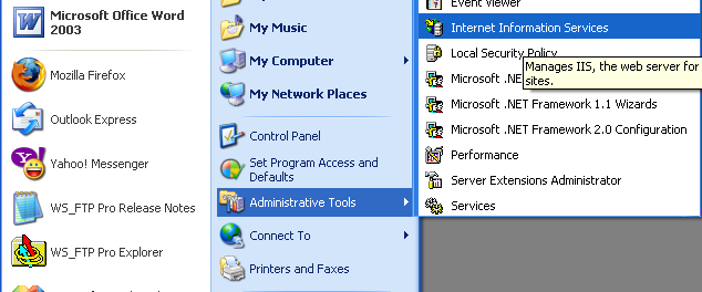 Install, configure, test and use IIS 5.x on Windows XP Pro SP2 machine: launching the Internet Information Services snap-in