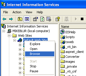 Install, configure, test and use IIS 5.x on Windows XP Pro SP2 machine: browsing the web of the local and physical IIS
