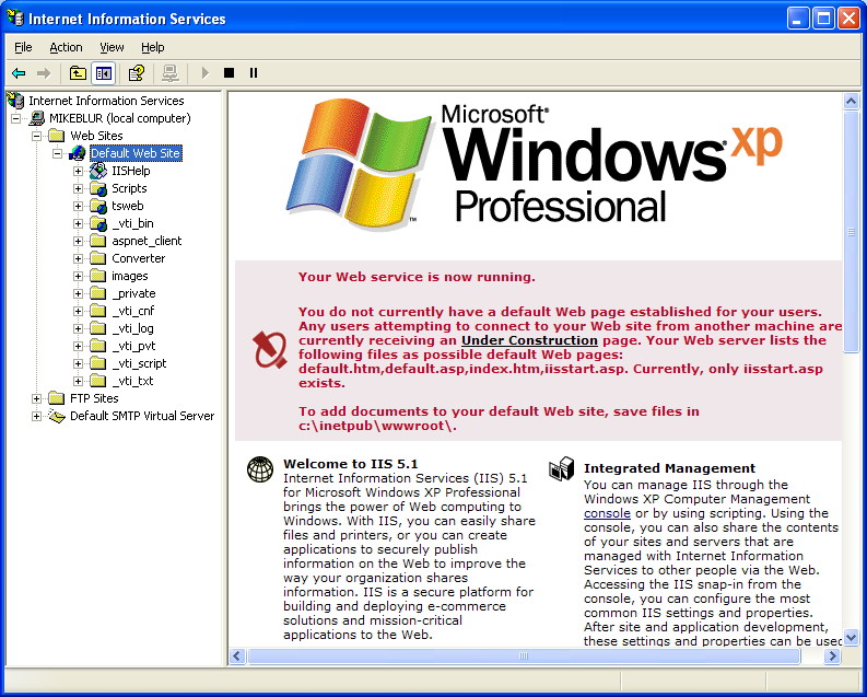Install, configure, test and use IIS 5.x on Windows XP Pro SP2 machine: the first default un-configured IIS web page