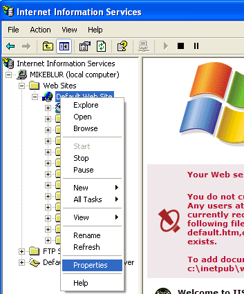 Install, configure, test and use IIS 5.x on Windows XP Pro SP2 machine: invoking the Default Web Site property page