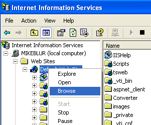 Install, configure, test and use IIS 5.x on Windows XP Pro SP2 machine: browsing the web site from IIS snap-in