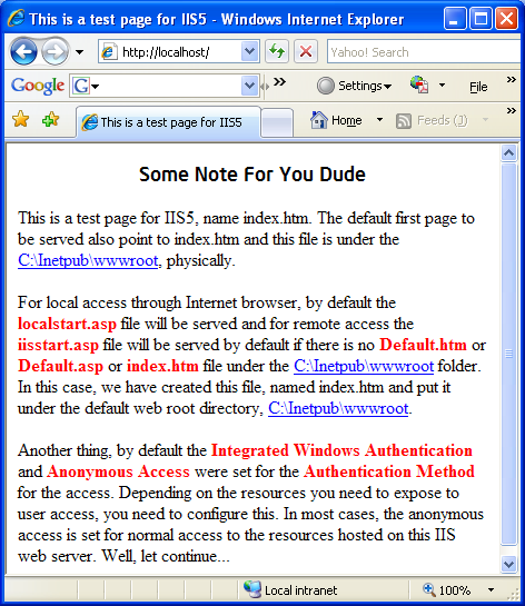 Install, configure, test and use IIS 5.x on Windows XP Pro SP2 machine: testing the IIS web server by accessing it from the Internet Explorer browser