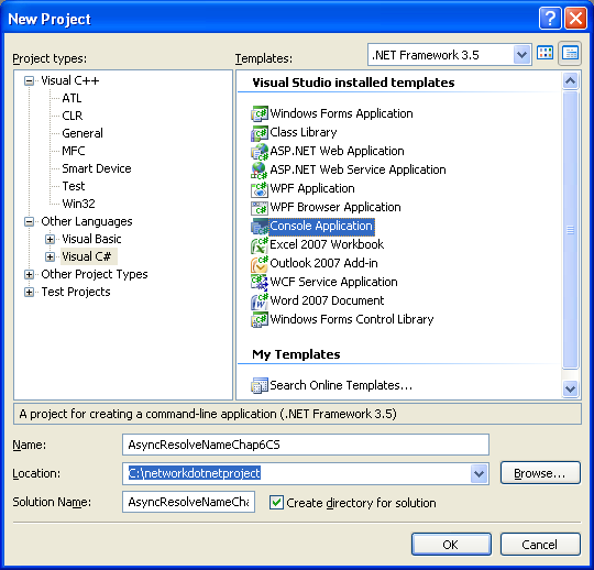 C# Asynchronous Name Resolution Program Example - a new console application project creation in Visual Studio 2008