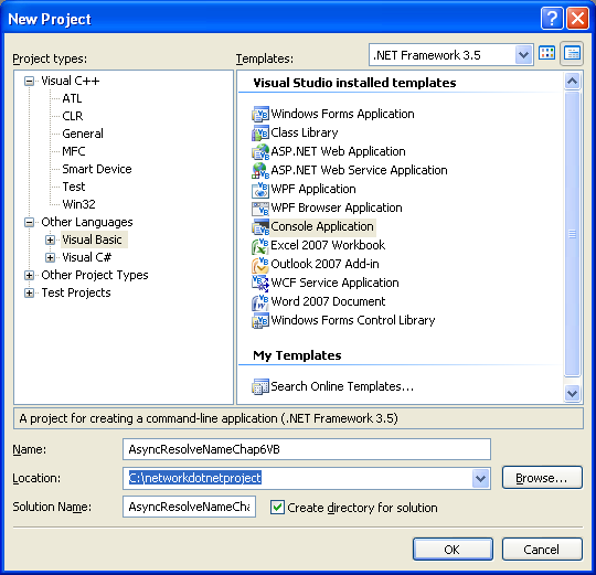 VB .NET Asynchronous Name Resolution Program Example - a new console application project creation in VS 2008