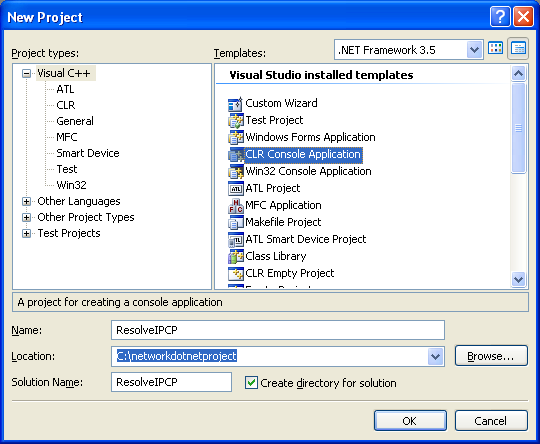 C++ IP Resolution Program Example - a new CLR console application project creation in  VS 2008