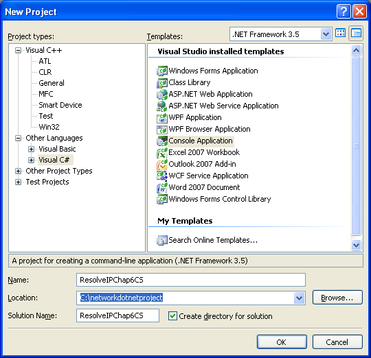 C# IP Resolution Program Example - a new console application project creation in Visual Studio 2008 IDE