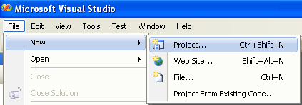 VB .NET new project creation in Visual Studio 2008 IDE