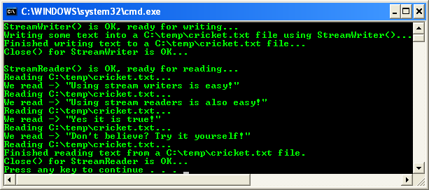 C++/CLI StreamWriter and StreamReader Console Mode project sample output