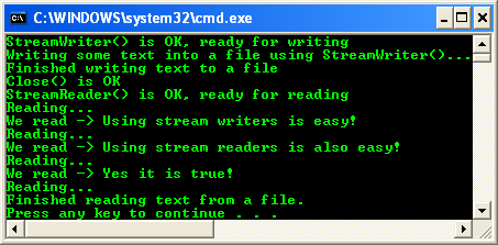 C# StreamWriter and StreamReader Console Mode application project - a sample output