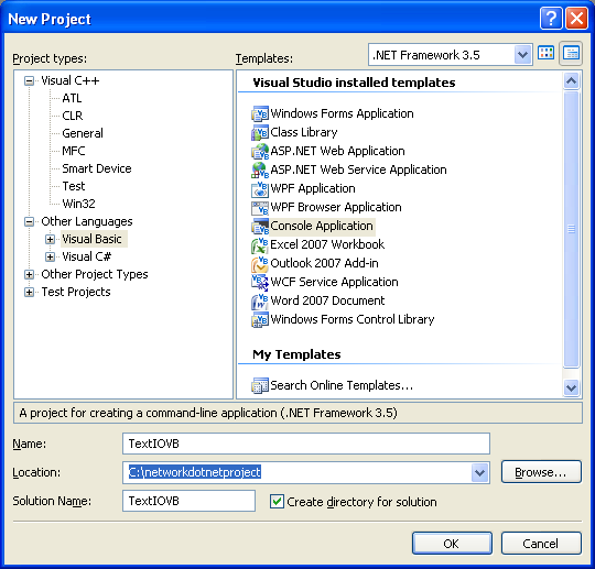 VB .NET StreamWriter and StreamReader Console Mode application project using VS 2008