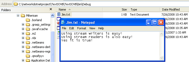 VB .NET StreamWriter and StreamReader Console Mode application project using VS 2008 - the generated text file