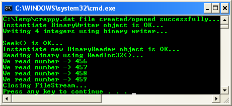 C++/CLI BinaryWriter and BinaryReader CLR console application project example - a sample console output