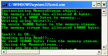 VB .NET Example: MemoryStream - console application project example - sample output