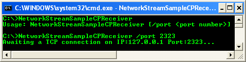 C++/CLI NetworkStream Example – Receiver Program - CLR console application project example - sample output