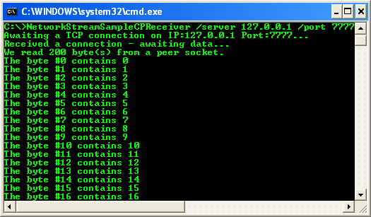 C++ BufferedStream Example - A screenshot for the received data when the communication was completed