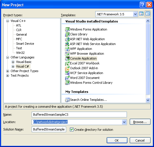 C# BufferedStream program example using VS 2008