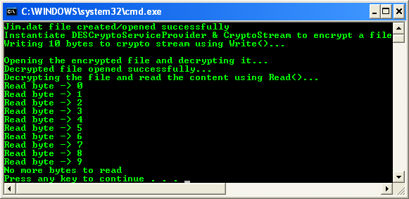 VB .NET CryptoStream Example - an output sample in action
