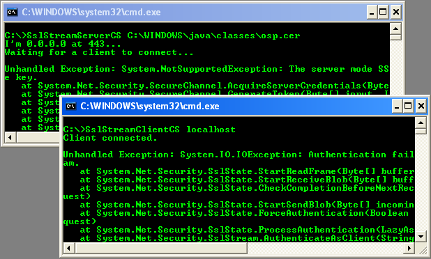 C# SSLStream Client Example - client and server output sample with thrown exceptions