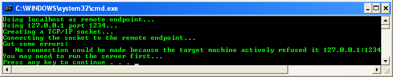 C++ NegotiateStream Client Example - a sample output when run from the command prompt