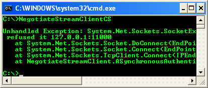 C# NegotiateStream Client Example - a sample console mode application output with thrown exception