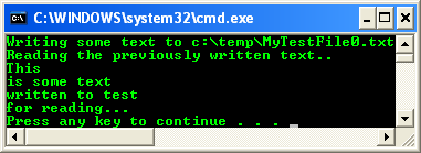 C++ StreamReader and StreamWriter Example - a sample of console mode output