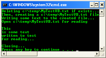VB .NET StreamReader and StreamWriter Example - a sample of output seen in the console mode