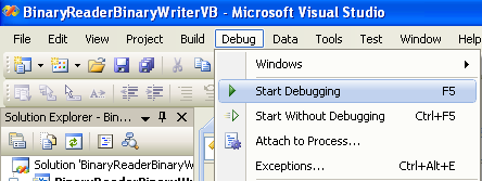 VB .NET BinaryReader and BinaryWriter Example - Running/debugging the project
