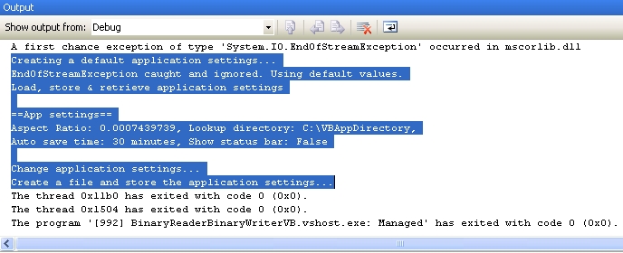 VB .NET BinaryReader and BinaryWriter Example - Output sample seen in the Output window