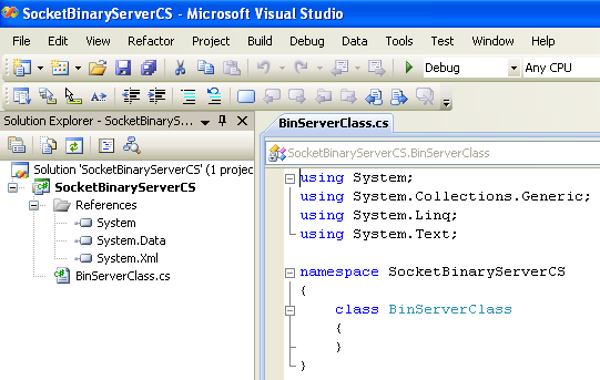 C# Binary Socket Server Program Example - a new source file for the class added to the existing project