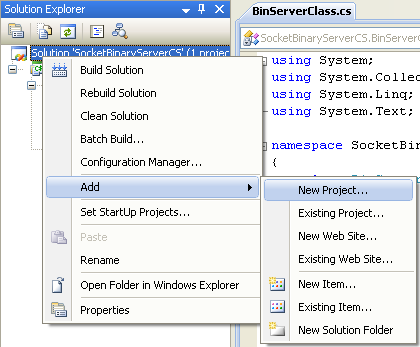 C# Binary Socket Server Program Example - invoking the Add new project page