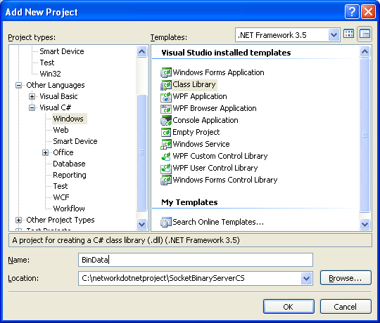 C# Binary Socket Server Program Example - adding new class library project into existing project