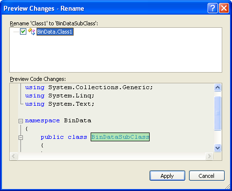 C# Binary Socket Server Program Example - the preview page of the class renaming process
