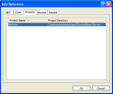 C# Binary Socket Server Program Example - selecting and importing the DLL file into the project