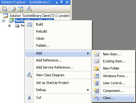 C# Binary Client Socket Program Example - The client program - adding new class to the existing project