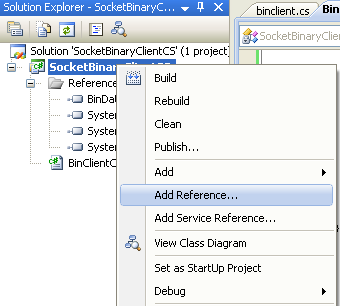 C# Binary Client Socket Program Example - The client program - invoking the Add Reference page through menu