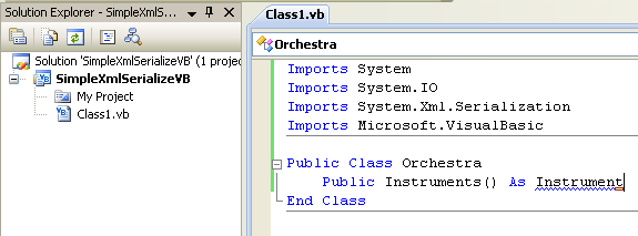 VB .NET XML Serialization Program Example - renaming the class to a new name