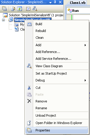 VB .NET XML Serialization Program Example - invoking the project properties page