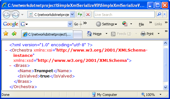 VB .NET XML Serialization Program Example - the generated XML file used for serialization and de-serialization opened in the Internet Browser