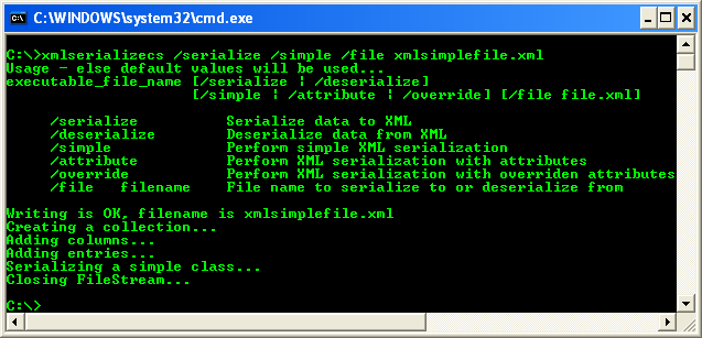 Another C# XML Serialization Program Example - running the project from command line with serialize and simple options