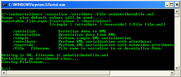 Another C# XML Serialization Program Example - running the project from command line with serialize and attribute options