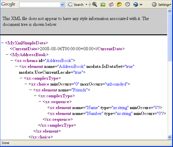 Another C# XML Serialization Program Example - the generated XML file opened in Internet Browser