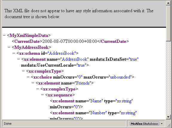 Another VB .NET XML Serialization Program Example - the generated XML file used for serialization and de-serialization opened in the Internet Browser