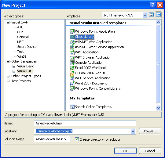 A Simple C# Asynchronous Class Example - craeating a new class library project in Visual Studio 2008