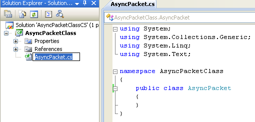 A Simple C# Asynchronous Class Example - renaming the source file to AsyncPacket to reflect the application