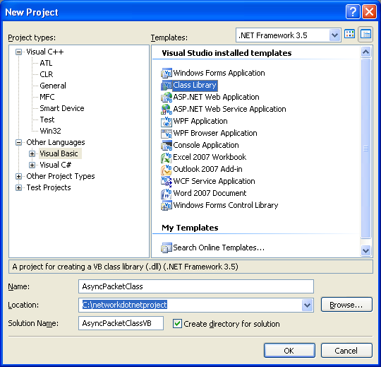 A Simple VB .NET Asynchronous Class Example - creating a new class library project in VS 2008 IDE