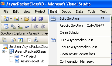 A Simple VB .NET Asynchronous Class Example - building the project using the IDE Build Solution menu